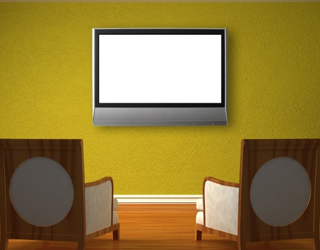 Two luxurious chairs opposite green wall Stock Photo - 13101486