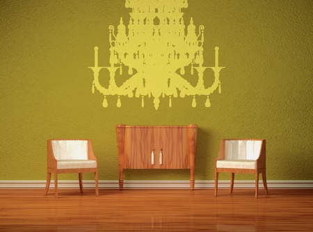 Two luxurious chairs with wooden console in green interior photo