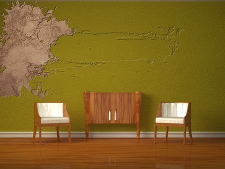 Two luxurious chairs with wooden console in green interior Stock Photo - 13101166