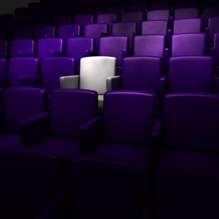 het auditorium met een gereserveerde stoel