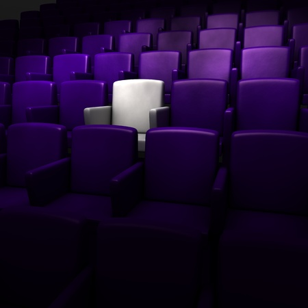 the auditorium with one reserved seat  版權商用圖片