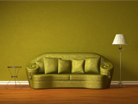 Olive couch with table and standard lamp in olive interior  Stock Photo - 13101162