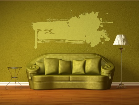 Olive couch with table and standard lamp in olive interior Stock Photo - 13101158