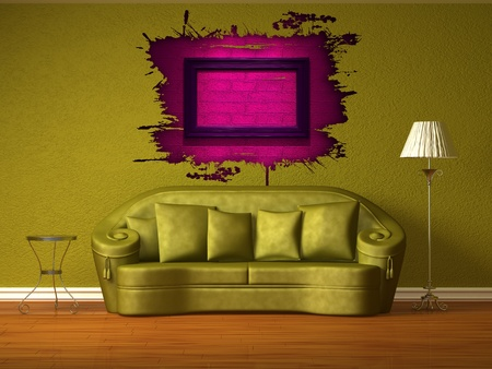 Olive couch with table and standard lamp in olive inter  Stock Photo - 13101188