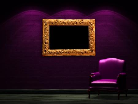 Houten minimalistische woonkamer met rode stoel royalty vrije foto