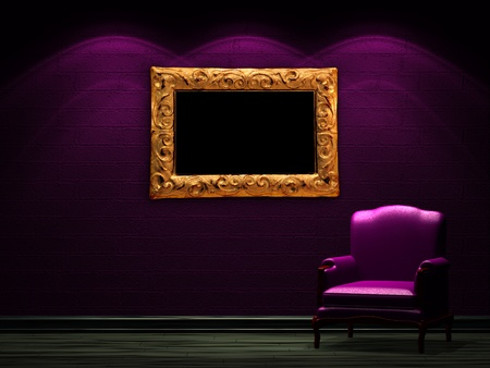 Alone chair with LCD tv in dark minimalist interior photo