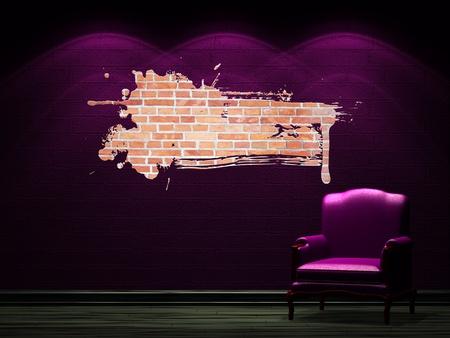 plazma: Alone chair with LCD tv in dark minimalist interior Stock Photo