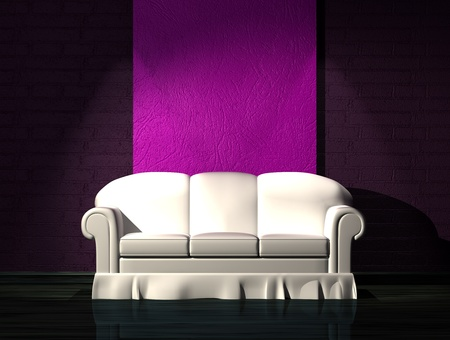venge: White sofa with purple part of the wall in minimalist interior