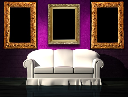 White sofa with purple part of the wall in minimalist interior Stock Photo - 13101169