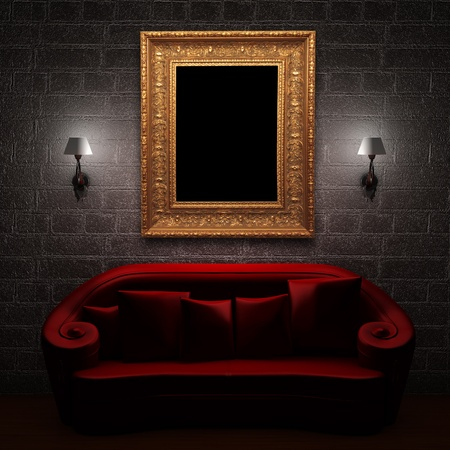 Red couch with empty frame and sconces in minimalist interior Stock Photo