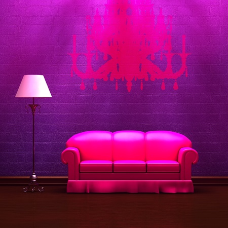 Pink couch and standard lamp with silhouette of chandelier in purple minimalist interior  photo