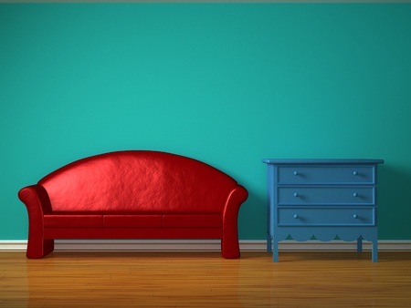 kids' room: Red sofa with blue bedside table in kids room Stock Photo