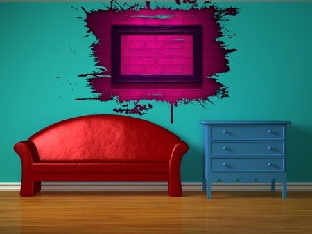 Red sofa with blue bedside table in kids room photo