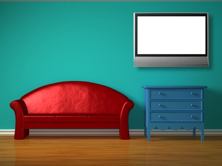 Red sofa with blue bedside table in kids room Stock Photo - 13101492