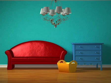 Red sofa with luxurious chandelier in kids interior Stock Photo - 13101157