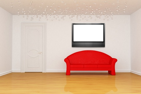 living room with door, red couch and LCD tv  photo