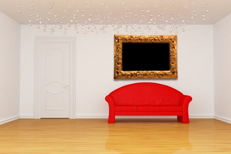 living room with door, red couch and picture frame  photo