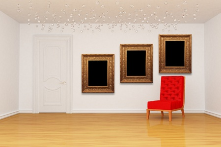 Empty room with door, red chair and golden picture frames  photo