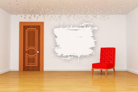 Empty room with splash frame, door and red chair  photo