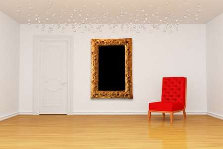Empty room with door, red chair and golden picture frame  photo
