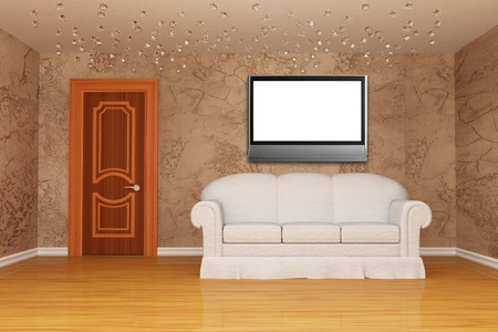 room with door and white couch and LCD tv  photo