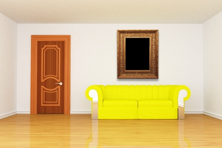 minimalist living room with yellow couch and modern picture frame  photo