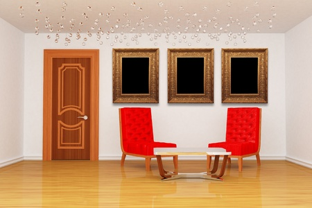 Empty room with red chairs with table and picture frames  photo