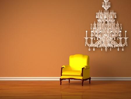 Alleen luxe stoel in minimalistische inrichting