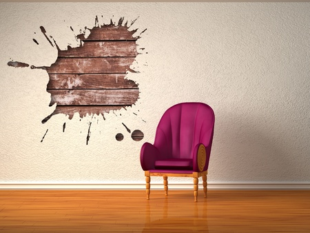 Alone luxurious chair with splash hole in minimalist interior  photo