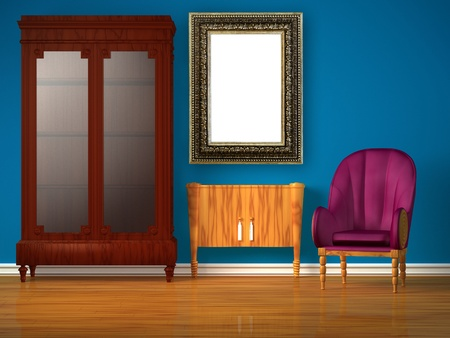 Cupboard with table and luxurious chair in minimalist interior Stock Photo - 13139039