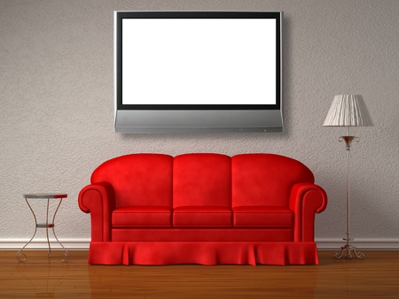 Red sofa with table and stand lamp in white minimalist interior  Stock Photo - 13138976