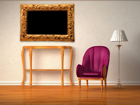 luxurious chair with wooden console, picture frame and stand lamp in purple interior  photo