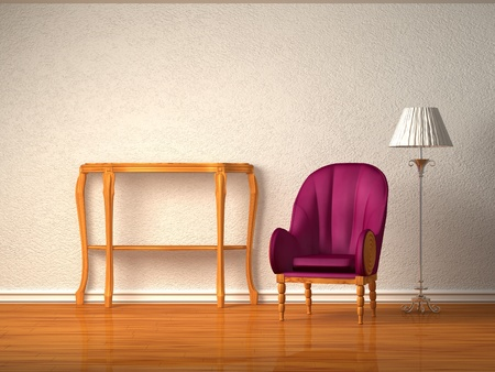 luxurious chair with wooden console and stand lamp in purple interior  photo