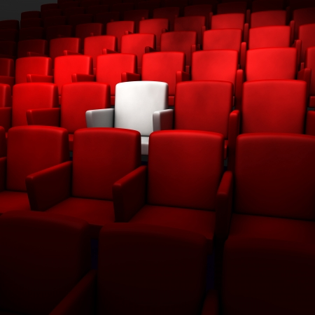 theater seat: the auditorium with one reserved seat  Stock Photo