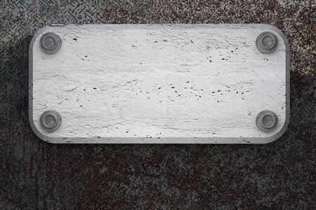 concrete plate on metallic background texture   photo
