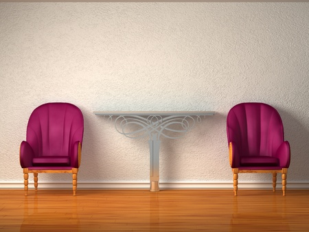 Two luxurious chairs with metallic console in minimalist interior  photo