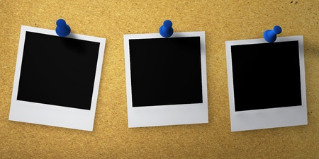 polaroid photos pinned to corkboard photo