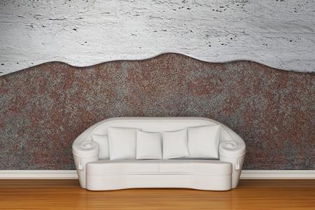 White sofa in rusty inter Stock Photo - 13140053