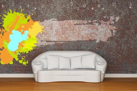 White sofa in rusty inter Stock Photo - 13140058
