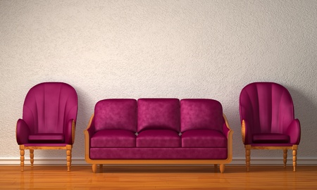 Two luxurious chairs with purple couch in minimalist interior Stock Photo - 13139851