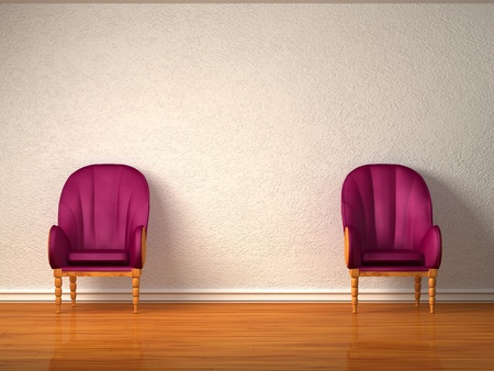 Two luxurious chairs in minimalist interior  photo