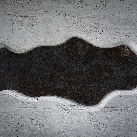 oxidated: Plato curvo de hormig�n sobre la textura de metal de fondo