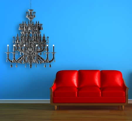 Red couch in blue minimalist interior Stock Photo