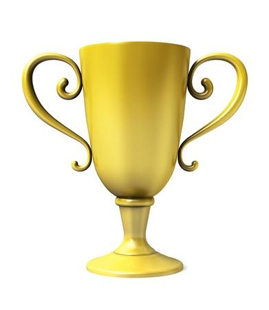 Copa de Oro del ganador sobre fondo blanco. Foto de archivo