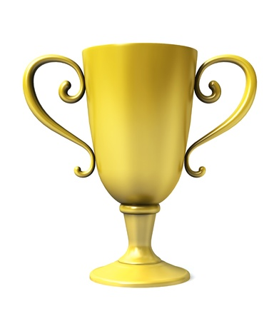 Gold cup of winner on white background. Banco de Imagens