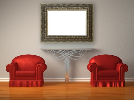 Two red chairs with metallic console in minimalist interior  photo