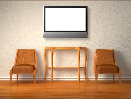 Two luxuus chairs with wooden console and lcd tv in minimalist inter  Stock Photo - 13186681