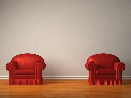 Two red chairs in minimalist interior photo