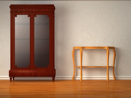 Cupboard with wooden table in minimalist interior photo