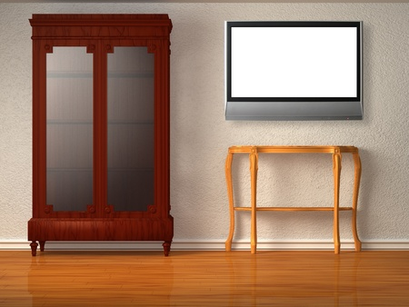 Cupboard with wooden table and lcd tv in minimalist interior  photo